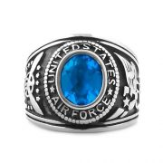 Mens 5.0ct Air Force Simulated Swiss-Blue Topaz Military Signet Ring Steel