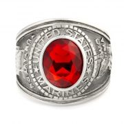 Mens 5.0ct Simulated Ruby USA Marines Military Signet Ring 316 Steel