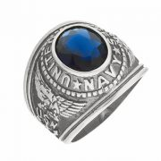 Mens 5.0ct Simulated Sapphire USA Navy Military Signet Ring 316 Stainless Steel
