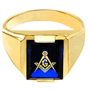 Men's 14k Yellow Gold Freemason Blue Stone Square and Compass Masonic Ring