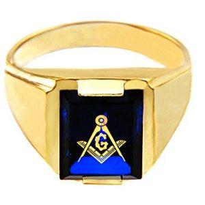 Men's 14k Yellow Gold Freemason Blue Stone Square and Compass Masonic Ring