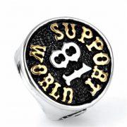 Men's 316L Stainless Steel Classic 81 Support World Ring for Harley Rider Motor Biker