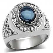 Men's 316L Stainless Steel Dark Blue Oval Cabochon Ring