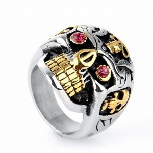 Men's 316l Stainless Steel Hip Hop Red Eyes Gold Teeth Skull Ring