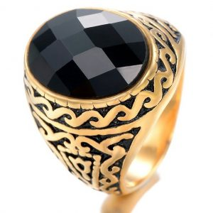 Mens Stainless Steel Ring Oval Black Onyx 14K Gold Plated Vintage Retro Gothic Punk