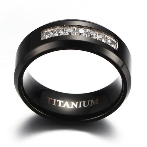 8mm Men's Black Titanium Wedding Band Ring with 7 Simulated Cubic Zirconia Set CZ
