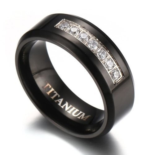8mm Men's Black Titanium Wedding Band Ring with 7 Simulated Cubic Zirconia Set CZ
