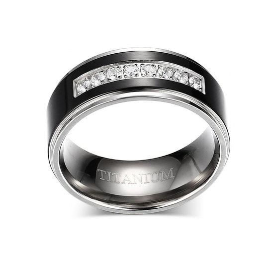 8mm Men's Black Titanium Wedding Band Ring with 8 Simulated CZ Set