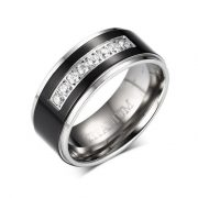 8mm Men's Black Titanium Wedding Band Ring with 8 Simulated CZ Set