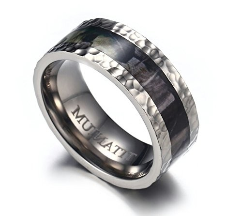 8mm Men's Camouflage Hunting Titanium Wedding Band Ring With Hammered Finish