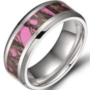 8mm Men's Titanium Ring Pink Forest Camo Camouflage Comfort Fit Wedding Band