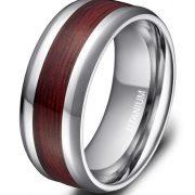 8mm Men's Titanium Ring Real Wood Grain Inlay Polished Beveled Edges Comfort Fit Wedding Band
