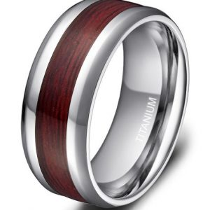 8mm Men's Titanium Ring Real Wood Grain Inlay Polished Beveled Edges Comfort Fit Wedding Band