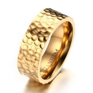 8mm Men's Titanium Wedding Band Ring 18k Gold Plated Hammered Finish With Comfort Fit