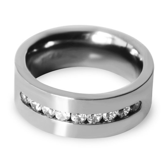8mm Mens Womens Titanium Classic Wedding Bands with 9 Brilliant CZ Stone Inlay