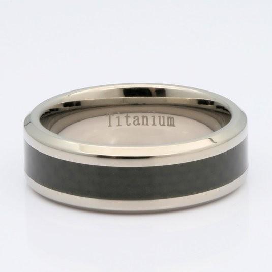 8mm Mirror Polished Titanium Wedding Ring Black Carbon Fiber Inlay