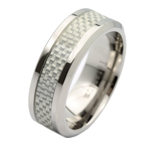 8mm Mirror Polished Titanium Wedding Ring Gray Carbon Fiber Inlay