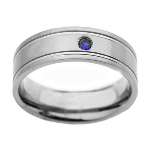 8mm Titanium Grooved Round Synthetic Blue Sapphire Men's Wedding Band