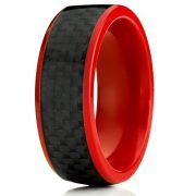 8mm Red Titanium Ring Men's Wedding Band with Black Carbon Fiber Inlay, Comfort Fit