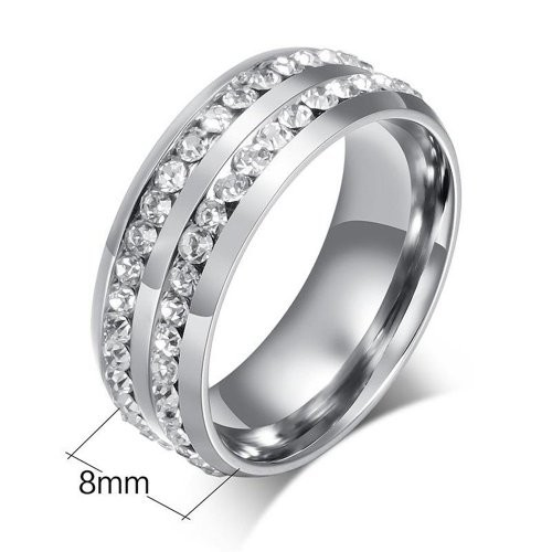 8mm Double Crystal Diamond Inlay Mens Titanium Engagement Classic Rings