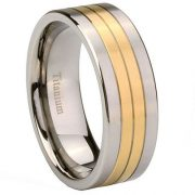8mm Titanium 14K Gold Two Tone Grooved Men's Band Ring