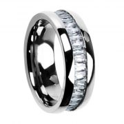 8mm Titanium Cut Cubic Zirconia Eternity Band Men's Wedding Ring
