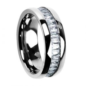 8mm Titanium Cut Cubic Zirconia Eternity Band Men's Wedding Ring