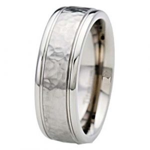 8mm Titanium Band Hammered Grooved Shiny Edge Men's Wedding Band