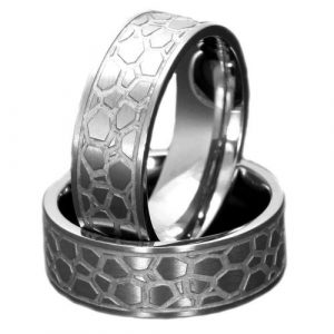 8mm Titanium Band Leopard Skin Etch Satin Flat Top Men's Wedding Ring