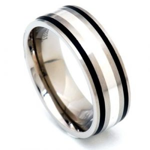 8mm Titanium Band Sterling Silver Strips Black Epoxy Inlay Men's Wedding Ring