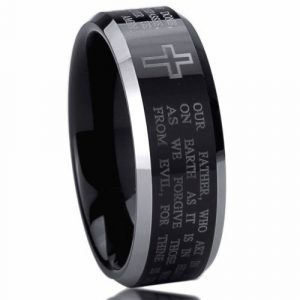 8mm Titanium Comfort Fit Wedding Band Ring Lord's Prayer with Cross Praying Black Ring