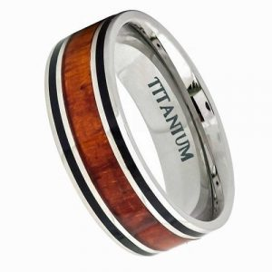 8mm Titanium double Line Hawaiian Koa Wood inlaid with two black pinstripes wedding Ring
