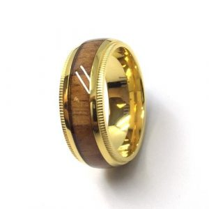 8mm Titanium Gold Plated Wedding Band Ring with Wooden Inlay Center