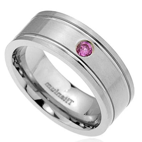 8mm Titanium Cut Band Round Synthetic Pink Sapphire Men's Wedding Ring