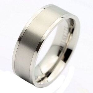 8mm Titanium Pipe Cut Wedding Band Brushed Center Polished Edges Ring