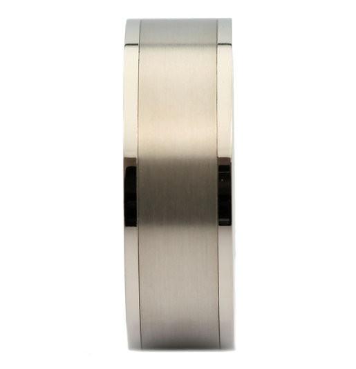 8mm Titanium Pipe Cut Wedding Band Brushed Center Polished Edges Ring
