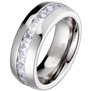 8mm Titanium Princess Cut Cubic Zirconia Channel Set Men's Wedding Ring