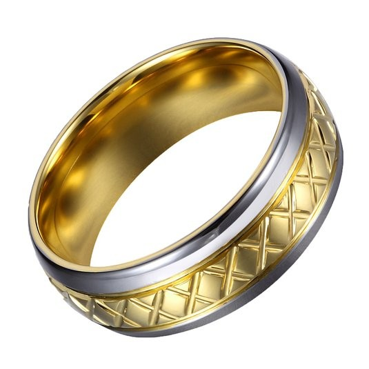 8mm Titanium Ring 18k Gold Plated Silver Edge Cross Pattern Wedding Band Comfort Fit