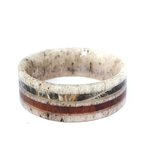 Solid Deer  Antler Rings with Camo and Wood inlay,Outdoor Hunting Wedding Band Ring