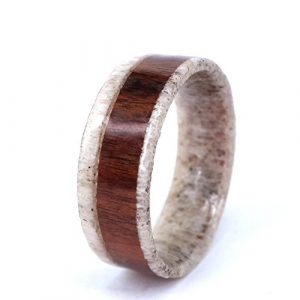 Antler Finger Ring with Red Koa Wood Deer Hunter Mens Womens Wedding Engagement Band