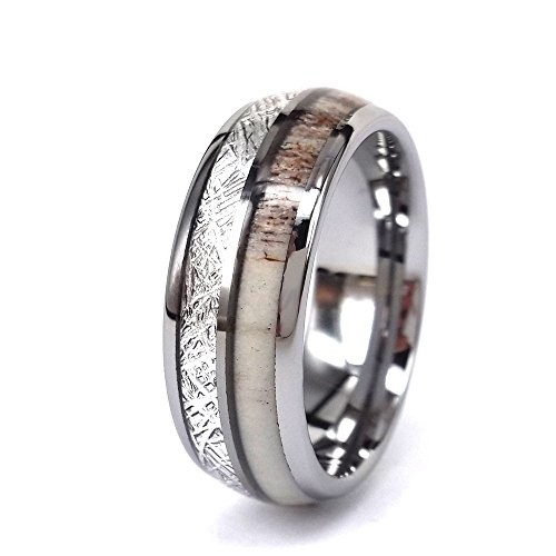 Simulation Meteorite Wedding Tungsten Ring With Deer Antler and Meteorite inlay,Antler Bone Band