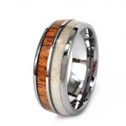 8mm Tungsten Engagement Ring Inlay Hawaii Koa Wood and Natural Antler