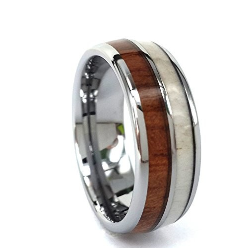 8mm Tungsten Engagement Ring Inlay Hawaii Koa Wood and Natural Antler