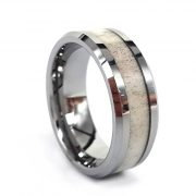 8mm Tungsten Ring Inlay Natural Deer Antler