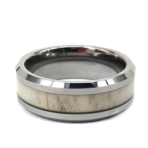 8mm Tungsten Ring Inlay Natural Deer Antler