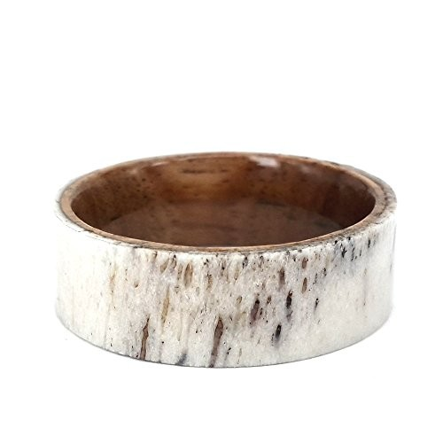 8mm Koa Wood Sleeve and Deer Antler Outer Band Ring