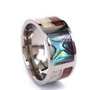 Titanium Ring With Antler and Hawaii Koa Wood and Abalone Shell Inlay