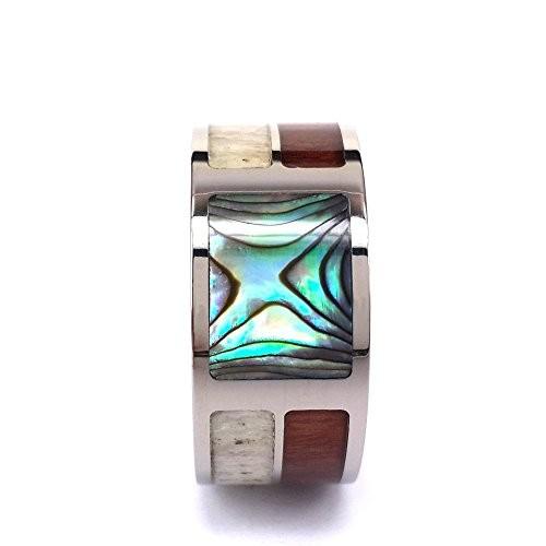 Titanium Ring With Antler and Hawaii Koa Wood and Abalone Shell Inlay