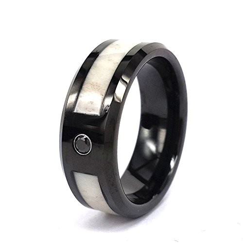 8mm Black Tungsten Wedding Engagement Rings With Deer Antler Inlay Black CZ