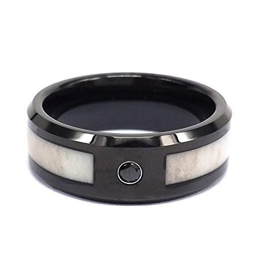 8mm Black Tungsten Wedding Engagement Rings With Deer Antler Inlay Black CZ